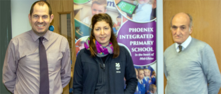 P7 teacher Steven Kelly pictured with Sophie Atkinson, Ranger at National Trust Springhill and Tom Jebb President Cookstown Rotary Club